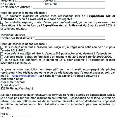 Appel à candidature Exposition Art & Artisanat du 5 au 11 avril 2021 à Pléneuf-Val-André