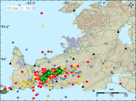 Reykjanes Peninsula - location and magnitude of earthquakes on 03.03.2021 / 6:20 p.m. - Doc. IMO