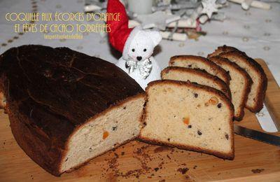 Coquille de Noël aux écorces d'orange confites et fèves de cacao torréfiées