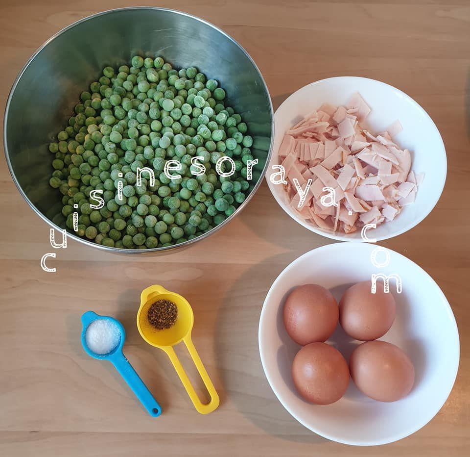 Poêlée de petits pois au poulet et oeufs