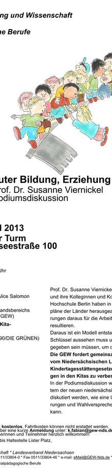 Hannover 24.4.13 - GEW lädt zu Debatte um Kita-Volksinitiative