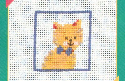 Portraits de chats et chiens, broderie main et machine : chat 1