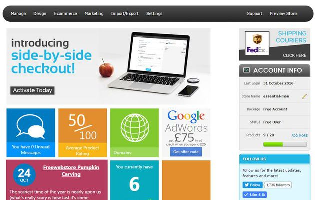 Create your own free ecommerce store with Freewebstore