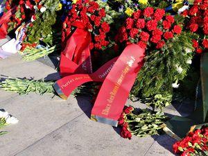 Délégation symbolique du Parti du Travail d'Autriche (PdA) rendant hommage aux soldats de l'Armée Rouge devant le Mémorial de guerre soviétique de la Place Schwarzenberg à Vienne (9 mai 2020)