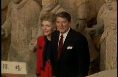 President Reagan and Nancy Reagan visit the Terra Cotta Warriors in Xi'an on April 29, 1984