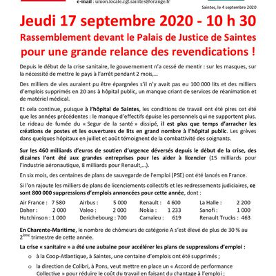 JOURNEE INTERPROFESSIONNELLE DU 17 SEPTEMBRE 2020