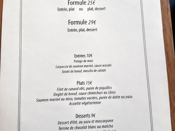 Menus To restaurant