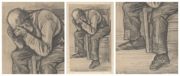 Vincent van Gogh, Study for 'Worn out' (middle, with details on the left and right), around 24 November 1882, pencil on paper, 48.8 x approx. 30 cm (Private collection). Photo: Heleen van Driel