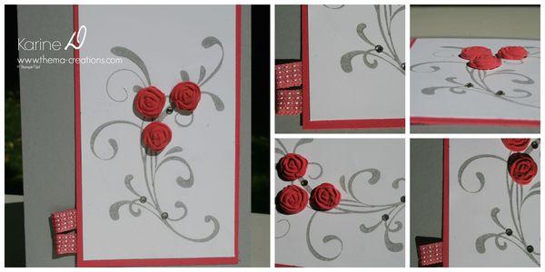 """Carte fleurs de papier argile colorées """"bavarois de framboise"""""""