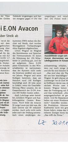 Landeszeitung 30.1.13 -- Urabstimmung bei e.on avacon in Lüneburg