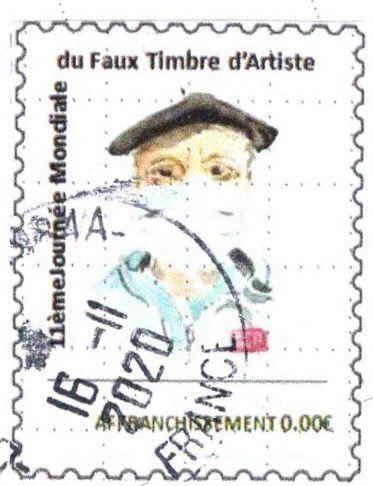avec leur timbre (autoportrait masqué)