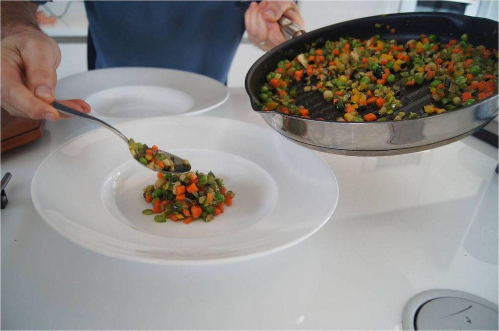 Saumon aux petits légumes provençaux et son émulsion au basilic