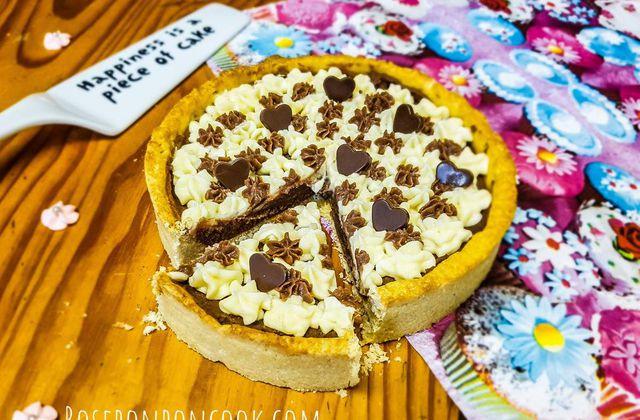 Tarte caramel au beurre salé et chocolat praliné