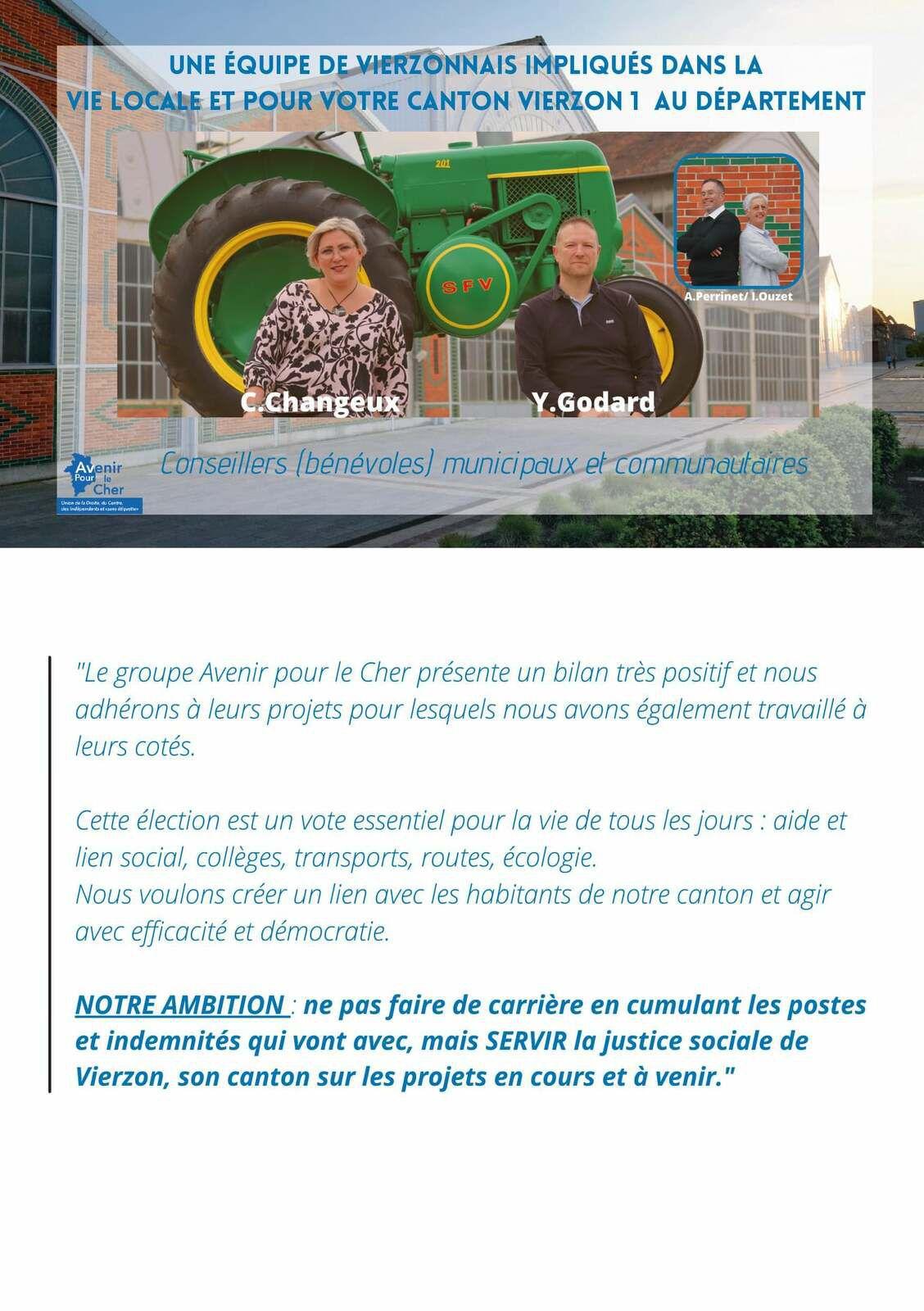 Elections départementales : le binôme Cécile Changeux/Yann Godard