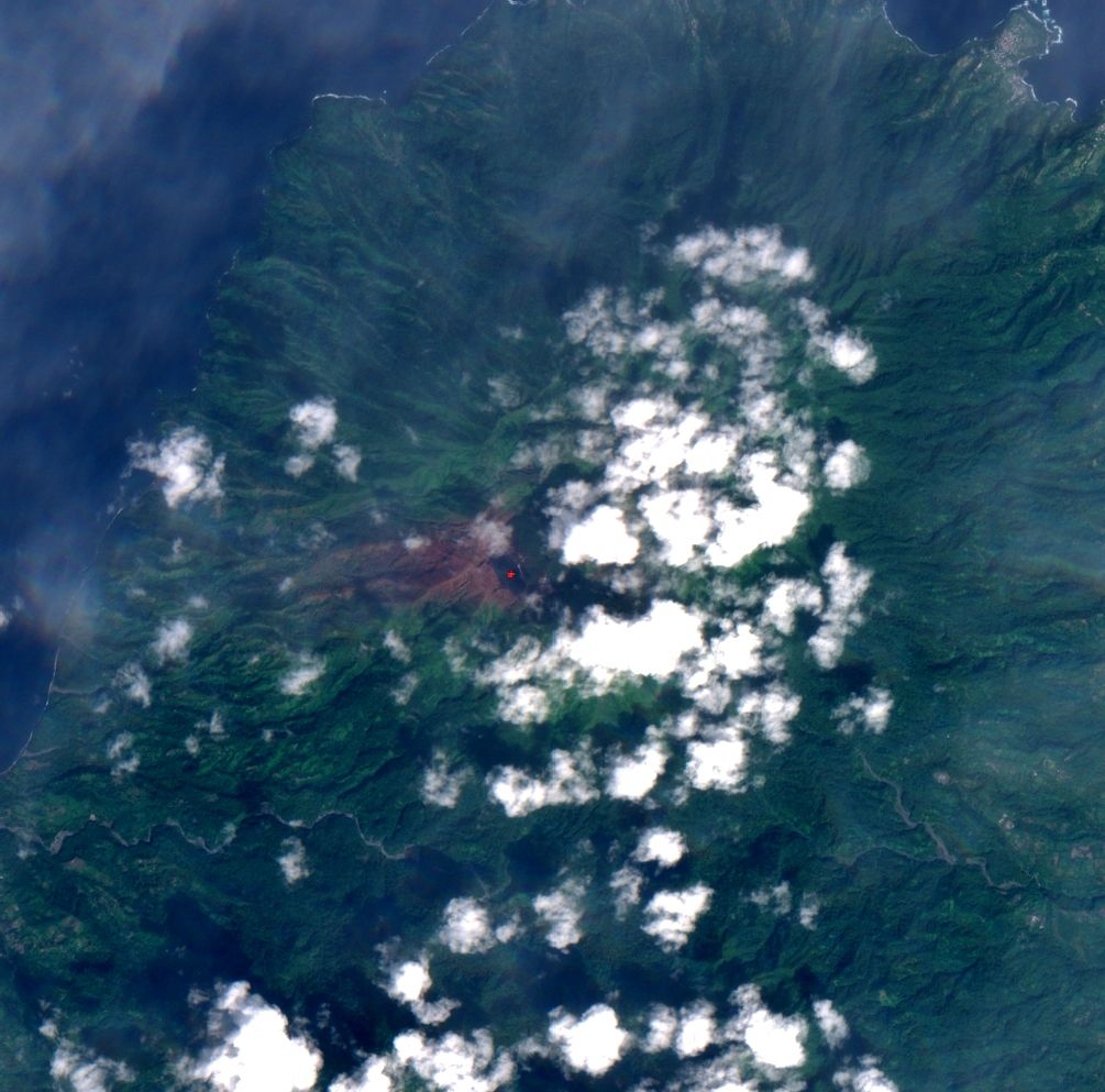 Soufriere de St. Vincent - an area burned by acid rain, linked to the gas emission, is visible on the left of the Sentinel 2 image of 01.28.2021 / via Mounts project