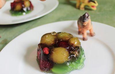 Jelly verte au thé, aux framboises & raisins. {Hommage à Jurassic Park} Bataille Food #38.