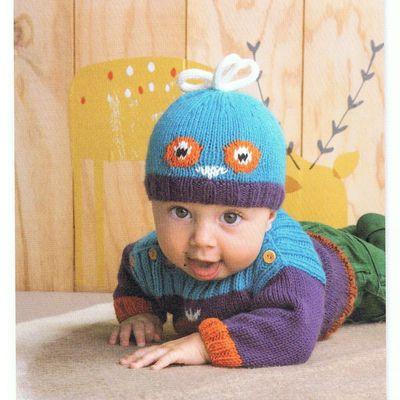 PDF Modele Pull et Bonnet pour Bébé avec Motif Hibou