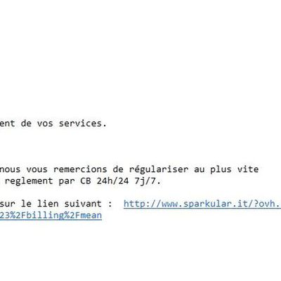 Faux mail d'OVH