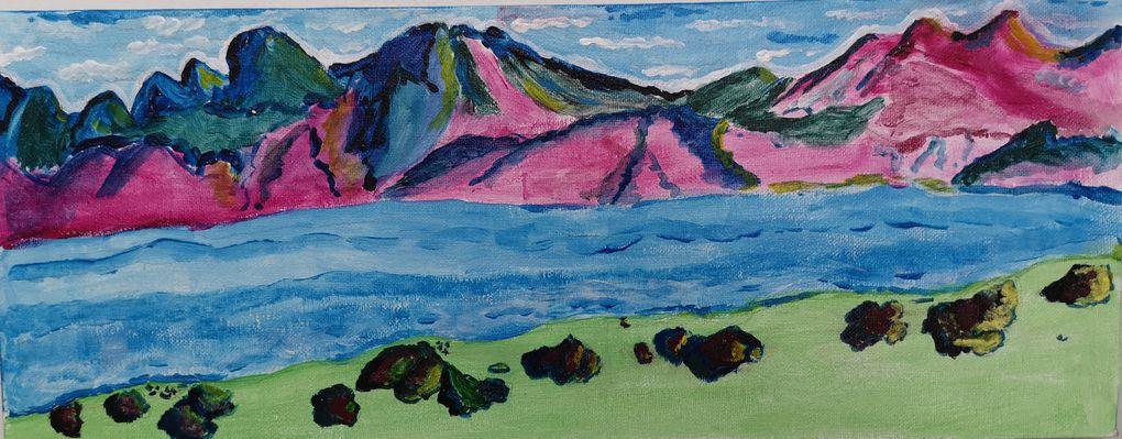 En s'inspirant des montagnes de Ferdinand Hodler acrylique sur toile pour les adultes, dessin, decoupage, collage pour les enfants