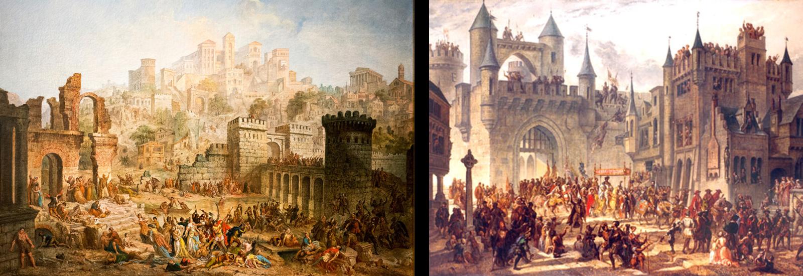 Massacre des Juifs à Metz par les premiers croisés en  1095 --- Fin de la République messine. Entrée à Metz de Henri II, roi de France, 1552.