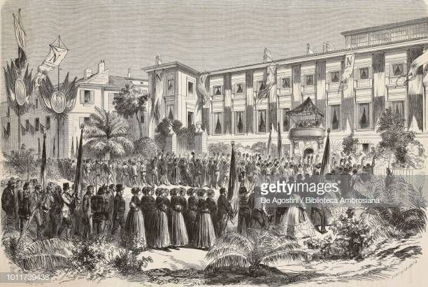 A speech of the emperor Napoleon the third in front of the people of Nice.