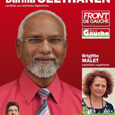 LES CANDIDATS DU FRONT DE GAUCHE / PARTI DE GAUCHE POUR LES ELECTIONS LEGISLATIVES DES 10 et 17 JUIN 2012- ILE DE LA REUNION