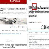 Gros foutage de gueule .Vinci qui participe à la restauration de notre-dame de Paris a versé des résidus de béton dans la Seine transformant une berge en «  désert aquatique » (videos medias fr)