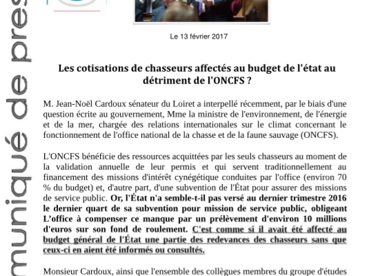 "COMMUNIQUE : ""Non respect des engagements financiers par l'État, l'ONCFS en danger ?"""