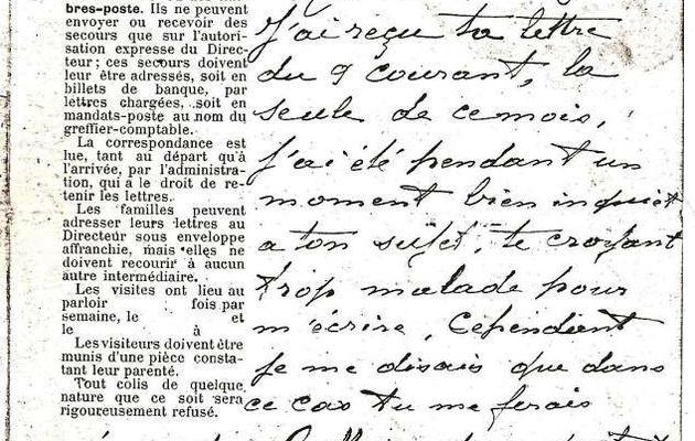 Affaire Seznec : La lettre de Guillaume Seznec à Marie-Jeanne le 16 août 1925
