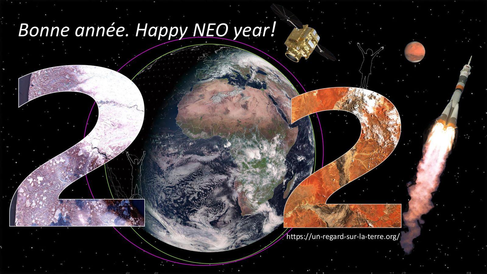 Nouvel an - Année 2021 - Voeux - Best wishes - Season's greetings - Happy new year - Sentinel-2 - Meteosat - Pleiades NEO - Soyouz - Eumetsat - Copernicus - Mars - Hope - Perseverance