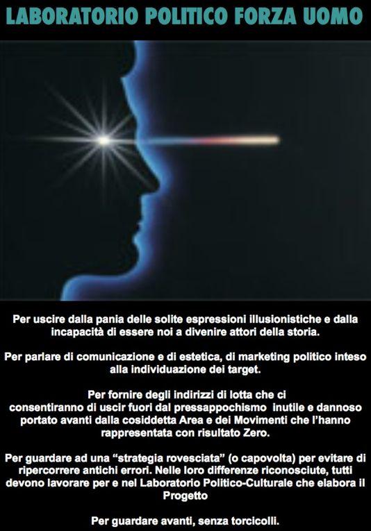 Manifesti creati con le Idee di Paolo Signorelli e del gruppo del Laboratorio Politico Forza Uomo, nello sforzo, crediamo riuscito, di una nuova estetica della comunicazione