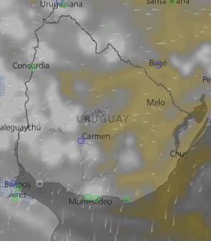 Miercoles 17, La mañana se presentara con  Cielo Nuboso a algo nuboso en gran parte del pais principalmente en el Litoral. En la tarde del dia Miercoles estara ingresando un area de bajas presiones, lo cual favorecera la formacion de Inestabilidad en el pais. La Temperatura minima estar entorno delos 18ºC, con una maxima de 28ºC; en el Norte. No se descarta se produzcan precipitaciones a partir de la mañana, en algunos puntos del pais, comenzando por el SW y Litoral. Un area de tormentas puntualmente fuertes se podrian producir en el NW y Centro Sur, en la noche del dia Miercoles. No se descartan fenomenos asociados a tormentas, las mismas se extenderan hacia el E, cubriendo gran parte de nuestro pais, siendo el Centro- Sur , NW y E; en donde se podrian gestar rachas de vientos de +30 Km/h en la madrugada del jueves, asi como ocacional caida de granizo. Como se aprecia en las imagenes el area de tormenta sera de rapido desplazamiento, alejandose de nuestro pais, durante el dia Jueves. Se ampliara.  .( Infome No Oficial). Atencion se debe estar atento a lo que Inumet Actualice