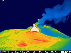 Etna NSEC - 27.07.2019 / 10:03 and 10:09 - webcam therm. Montagnola / INGV EO - a click to enlarge