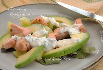 salade avocat, pommes de terre, saumon