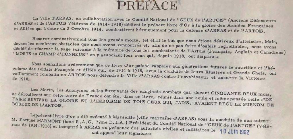 """premières pages du Livre d'or """"Ceux de l'Artois"""" conservé aux archives municipales"""