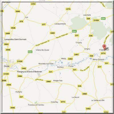 Aisne - Englancourt - Position église fortifiée sur carte