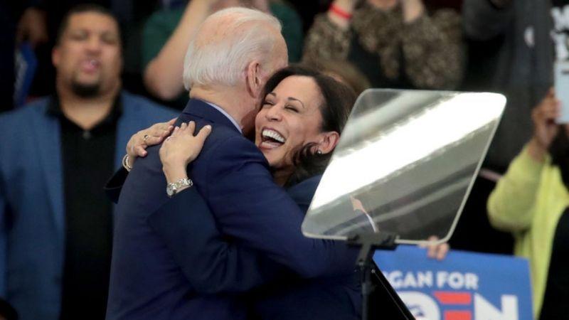 Kamala Harris a soutenu Joe Biden deux mois après avoir abandonné la course. Crédit photo, Getty Images