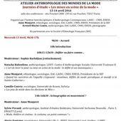 """ATELIER ANTHROPOLOGIE DES MONDES DE LA MODE: Journées d'étude """" Les mises en scène de la mode """" le 13 et 14 avril 2016"""