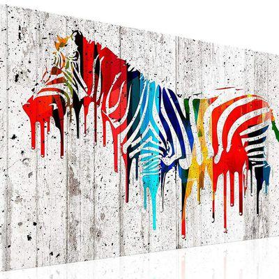 Tableau abstrait moderne d'un zebre couleurs 60x40 cm