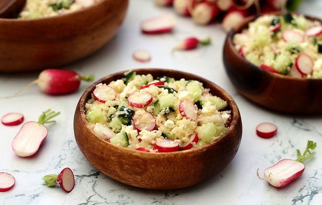 Taboulé de chou-fleur aux radis, concombre et feta