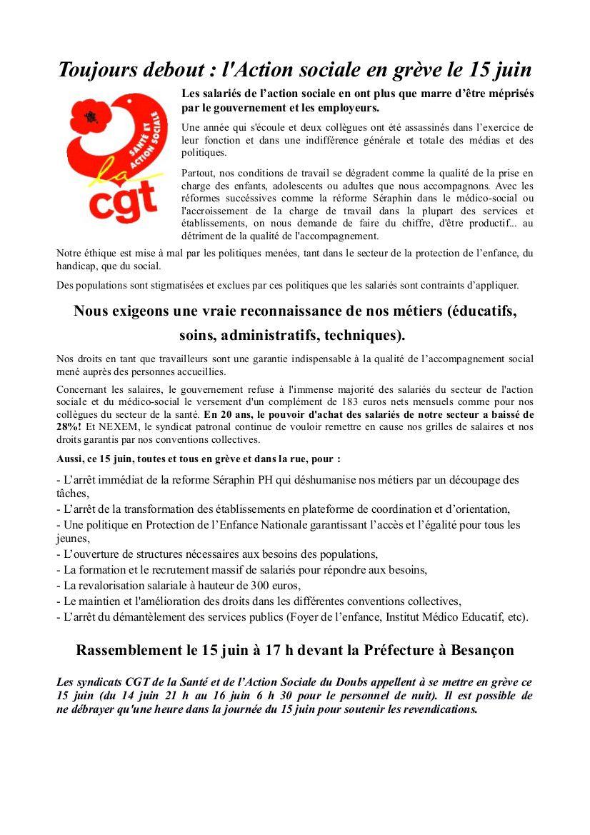 .. le 15 JUIN: TRAVAIL SOCIAL EN LUTTE! Besançon à 17h devant la préfecture