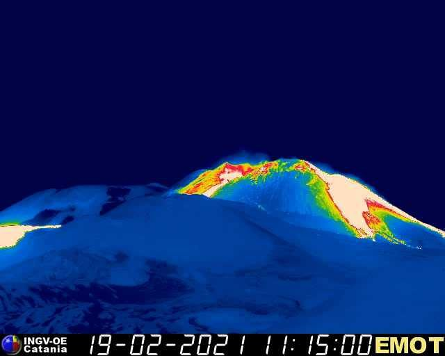 Etna - the flows of the south-eastern crater on 02.19.2021 / 11:15 a.m. - webcam Emot0225 INGV OE