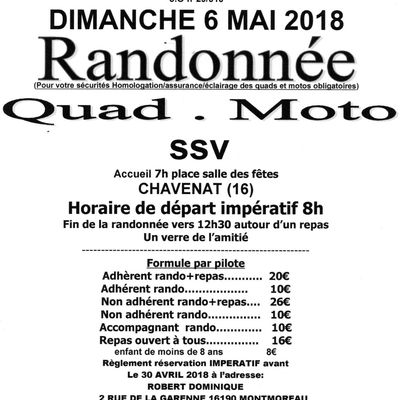 Rando quad, moto et SSV de Rando Quad Nature (16), le dimache 6 mai 2018