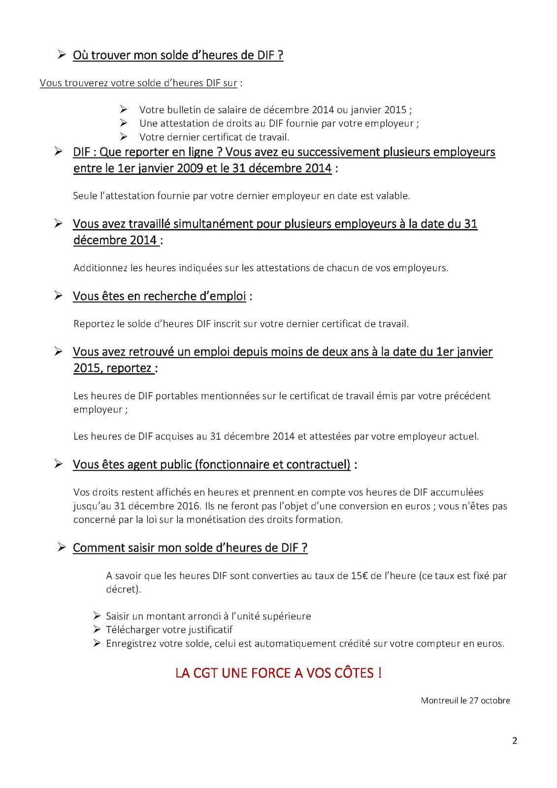 FORMATION PROFESSIONNELLE QUESTION/REPONSE SUR LE DIF – LA CGT KORIAN VOUS INFORME.