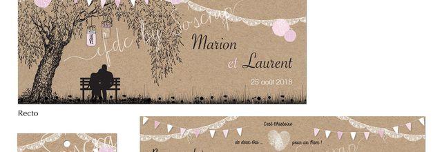 Le faire part de mariage bucolique de Marion et Laurent ... design saule pleureur