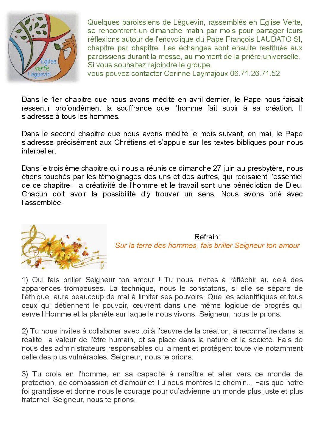 Prière Universelle de l' EV de Leguevin du dimanche 27/06