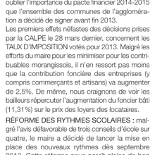 La tribune de Passion Morangis d'avril 2013