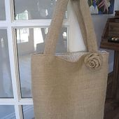 La Maison Reid: Burlap Tote with Shabby Rose: Another Tutorial!