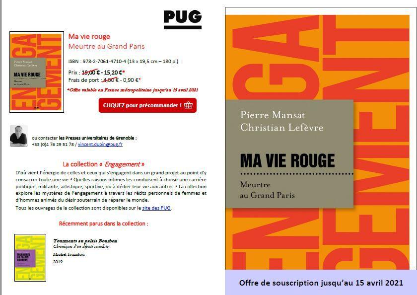 Ma vie rouge en librairie, la présentation par les Presses Universitaires de Grenoble