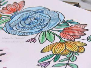 Coloriage - Adulte - Amour - Saint Valentin - Crayons - Love - Speed Painting - Couleurs - Fleurs - Bleu - Rose - Rouge - Ensemble - Couple